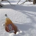冬の景色とりんごジュース